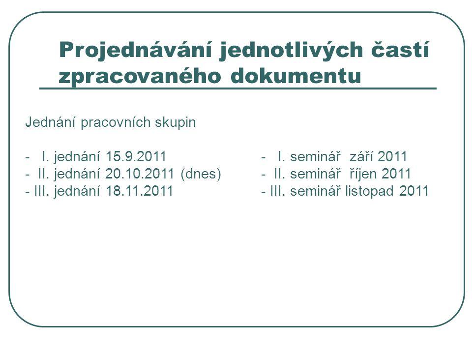 Projednávání jednotlivých častí zpracovaného dokumentu Jednání pracovních skupin - I. jednání 15.9.2011- I. seminář září 2011 - II. jednání 20.10.2011