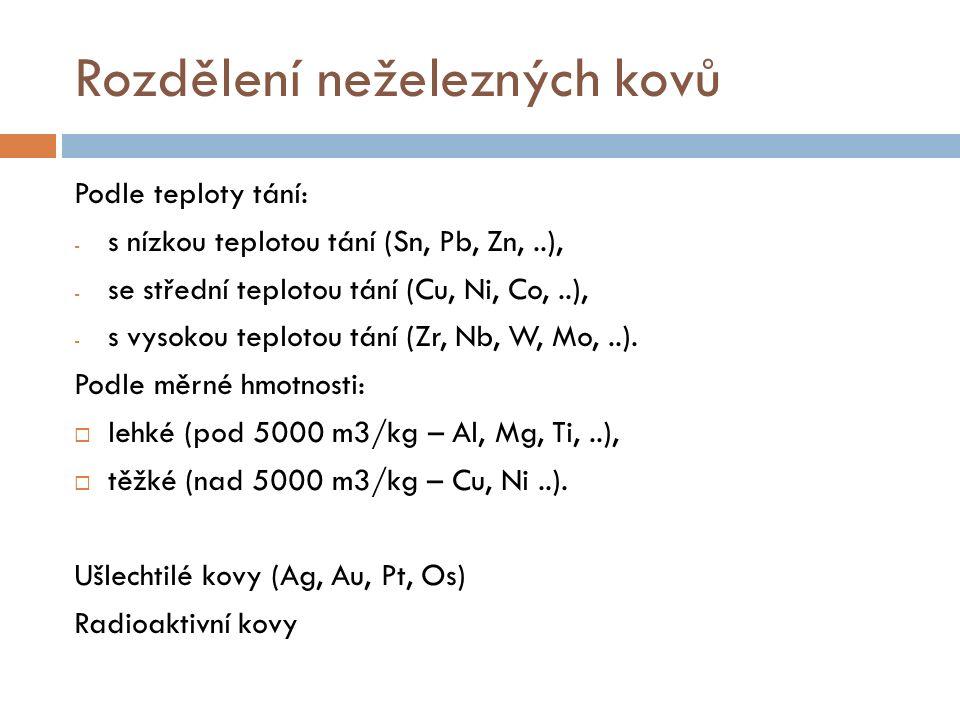 Rozdělení neželezných kovů Podle teploty tání: - s nízkou teplotou tání (Sn, Pb, Zn,..), - se střední teplotou tání (Cu, Ni, Co,..), - s vysokou teplo