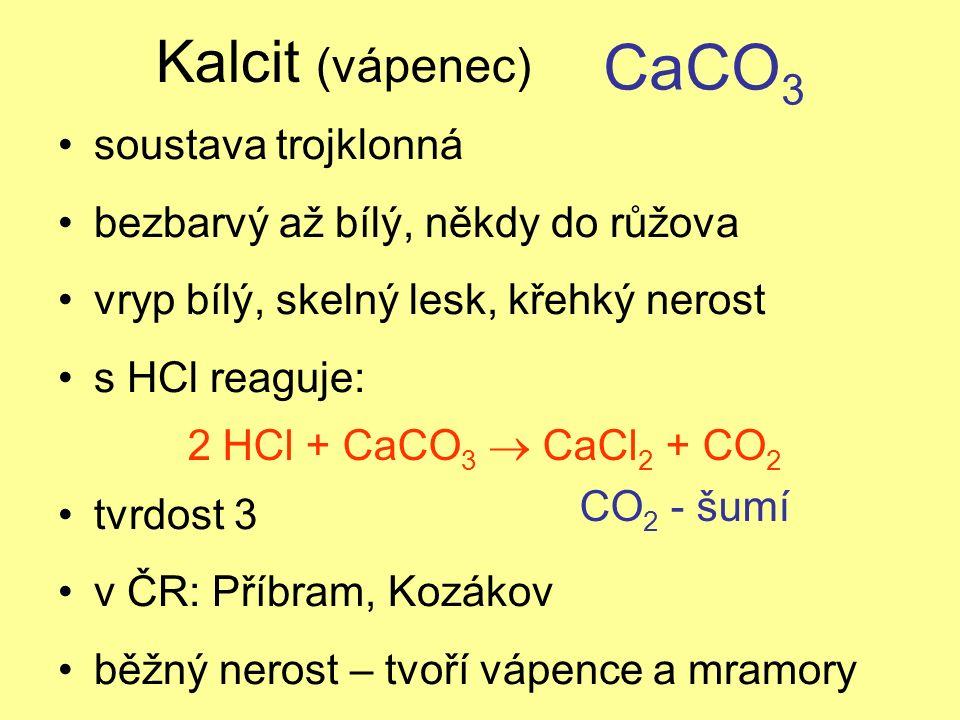Kalcit (vápenec) soustava trojklonná bezbarvý až bílý, někdy do růžova vryp bílý, skelný lesk, křehký nerost s HCl reaguje: tvrdost 3 v ČR: Příbram, Kozákov běžný nerost – tvoří vápence a mramory CaCO 3 2 HCl + CaCO 3  CaCl 2 + CO 2 CO 2 - šumí