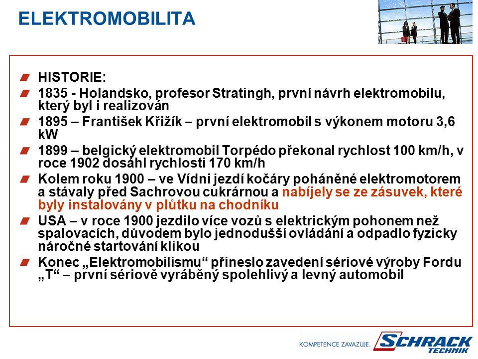"""HISTORIE: 1835 - Holandsko, profesor Stratingh, první návrh elektromobilu, který byl i realizován 1895 – František Křižík – první elektromobil s výkonem motoru 3,6 kW 1899 – belgický elektromobil Torpédo překonal rychlost 100 km/h, v roce 1902 dosáhl rychlosti 170 km/h Kolem roku 1900 – ve Vídni jezdí kočáry poháněné elektromotorem a stávaly před Sachrovou cukrárnou a nabíjely se ze zásuvek, které byly instalovány v plůtku na chodníku USA – v roce 1900 jezdilo více vozů s elektrickým pohonem než spalovacích, důvodem bylo jednodušší ovládání a odpadlo fyzicky náročné startování klikou Konec """"Elektromobilismu přineslo zavedení sériové výroby Fordu """"T – první sériově vyráběný spolehlivý a levný automobil"""