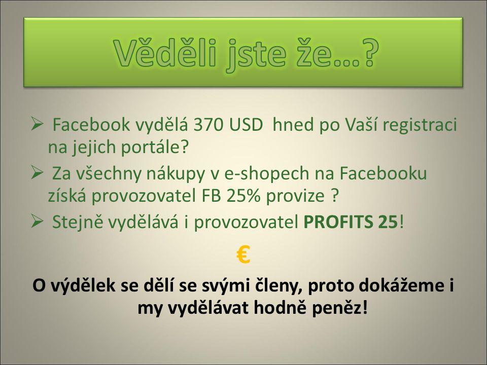  Facebook vydělá 370 USD hned po Vaší registraci na jejich portále?  Za všechny nákupy v e-shopech na Facebooku získá provozovatel FB 25% provize ?
