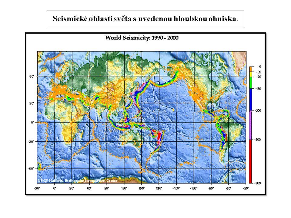 Seismické oblasti světa s uvedenou hloubkou ohniska.