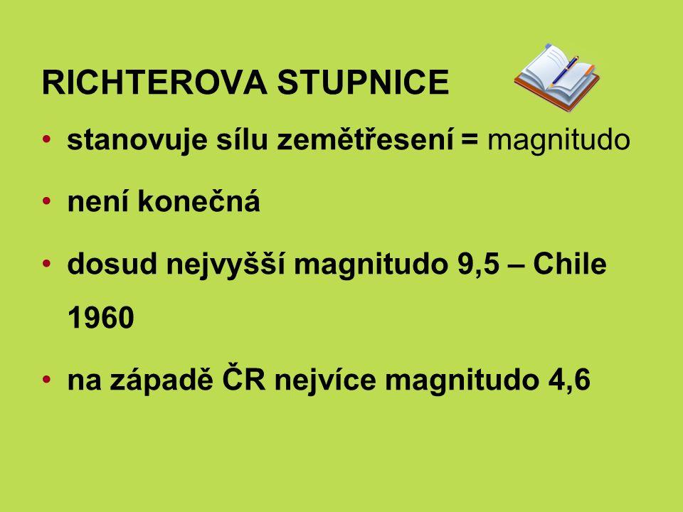 RICHTEROVA STUPNICE stanovuje sílu zemětřesení = magnitudo není konečná dosud nejvyšší magnitudo 9,5 – Chile 1960 na západě ČR nejvíce magnitudo 4,6