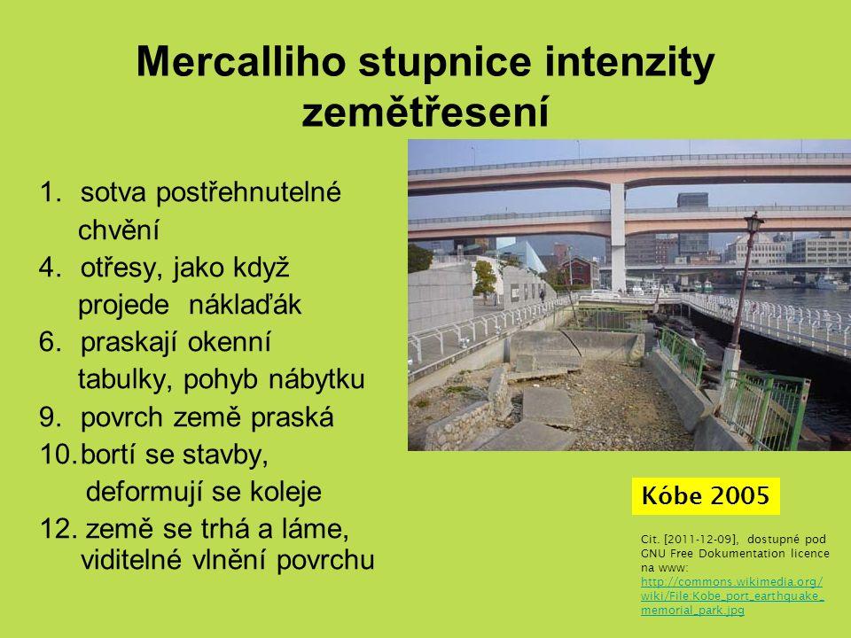 Mercalliho stupnice intenzity zemětřesení 1.sotva postřehnutelné chvění 4.otřesy, jako když projede náklaďák 6.praskají okenní tabulky, pohyb nábytku 9.povrch země praská 10.bortí se stavby, deformují se koleje 12.