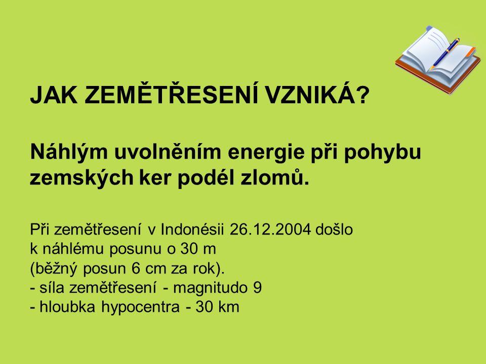 JAK ZEMĚTŘESENÍ VZNIKÁ. Náhlým uvolněním energie při pohybu zemských ker podél zlomů.