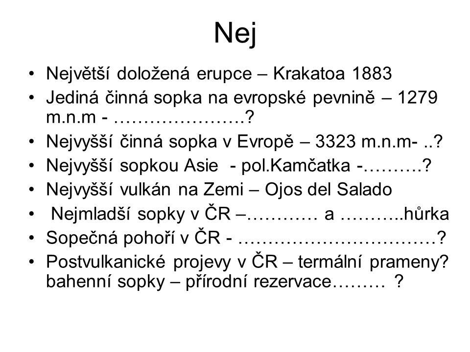 Nej Největší doložená erupce – Krakatoa 1883 Jediná činná sopka na evropské pevnině – 1279 m.n.m - …………………..