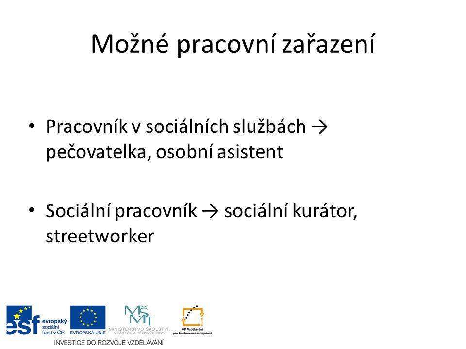 Možné pracovní zařazení Pracovník v sociálních službách → pečovatelka, osobní asistent Sociální pracovník → sociální kurátor, streetworker