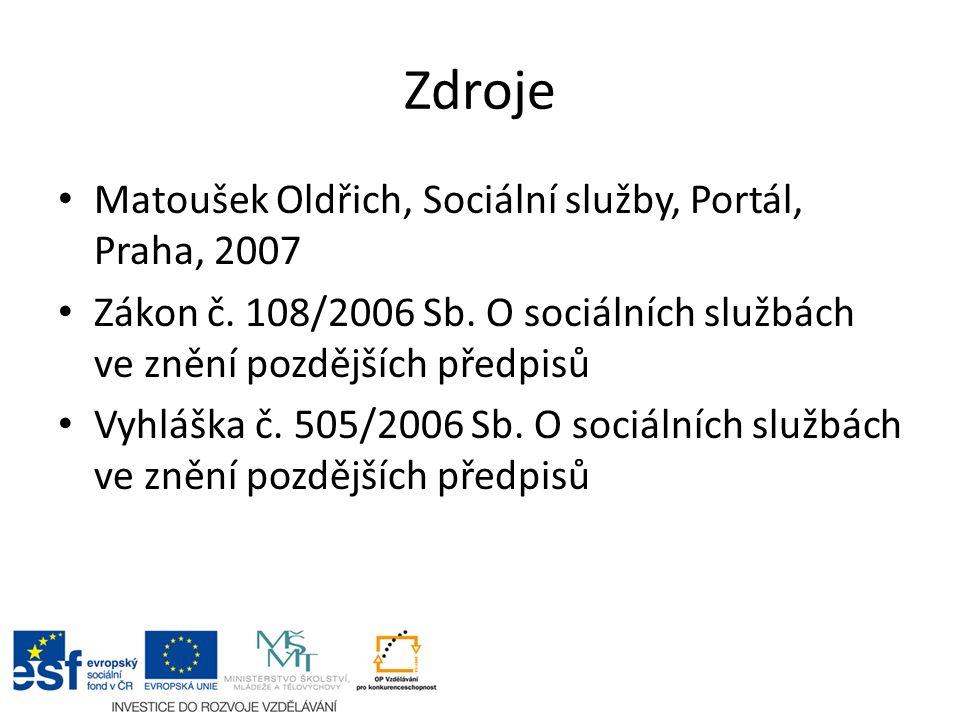 Zdroje Matoušek Oldřich, Sociální služby, Portál, Praha, 2007 Zákon č. 108/2006 Sb. O sociálních službách ve znění pozdějších předpisů Vyhláška č. 505
