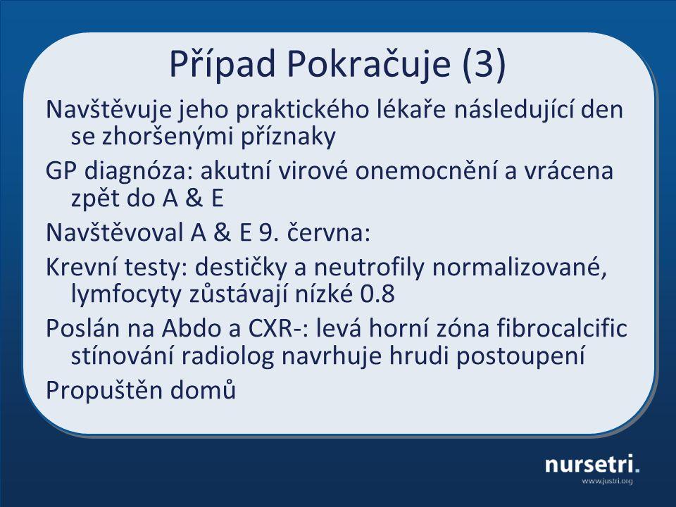 Případ Pokračuje (3) Navštěvuje jeho praktického lékaře následující den se zhoršenými příznaky GP diagnóza: akutní virové onemocnění a vrácena zpět do A & E Navštěvoval A & E 9.