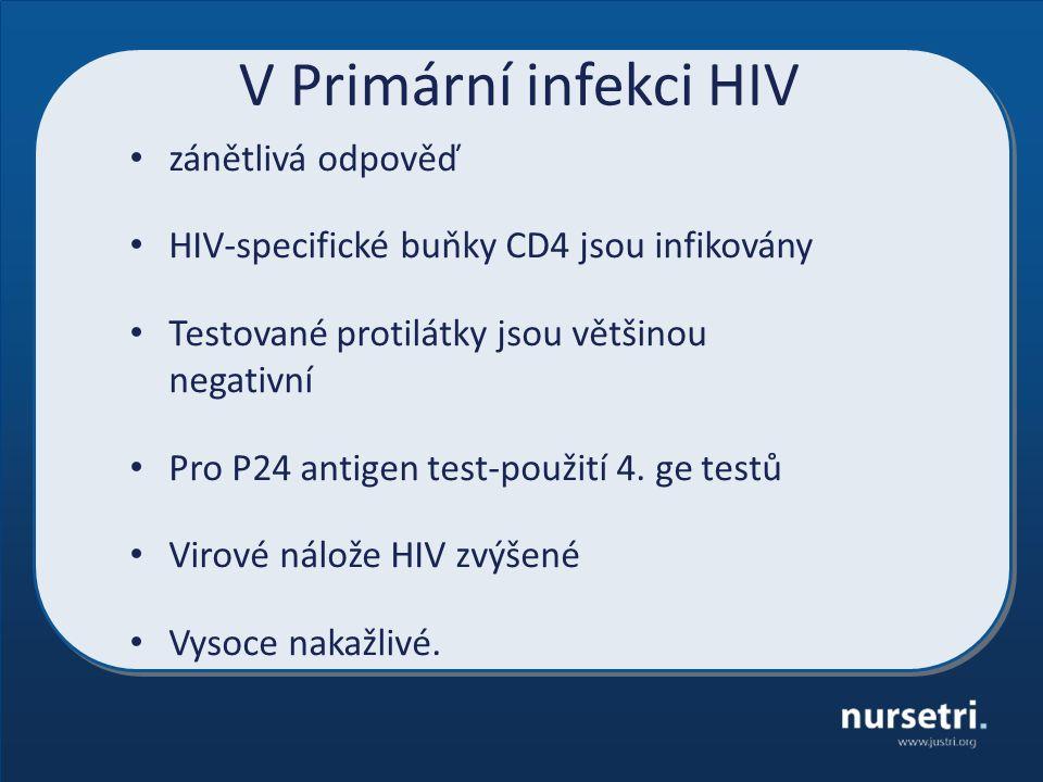 V Primární infekci HIV zánětlivá odpověď HIV-specifické buňky CD4 jsou infikovány Testované protilátky jsou většinou negativní Pro P24 antigen test-použití 4.