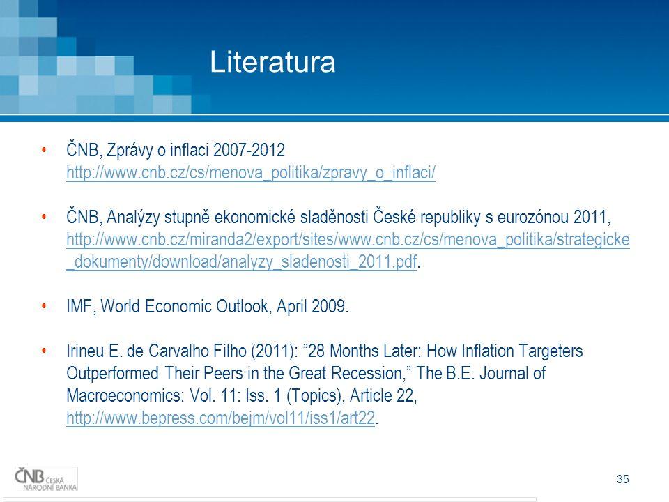 35 Literatura ČNB, Zprávy o inflaci 2007-2012 http://www.cnb.cz/cs/menova_politika/zpravy_o_inflaci/ http://www.cnb.cz/cs/menova_politika/zpravy_o_inflaci/ ČNB, Analýzy stupně ekonomické sladěnosti České republiky s eurozónou 2011, http://www.cnb.cz/miranda2/export/sites/www.cnb.cz/cs/menova_politika/strategicke _dokumenty/download/analyzy_sladenosti_2011.pdf.