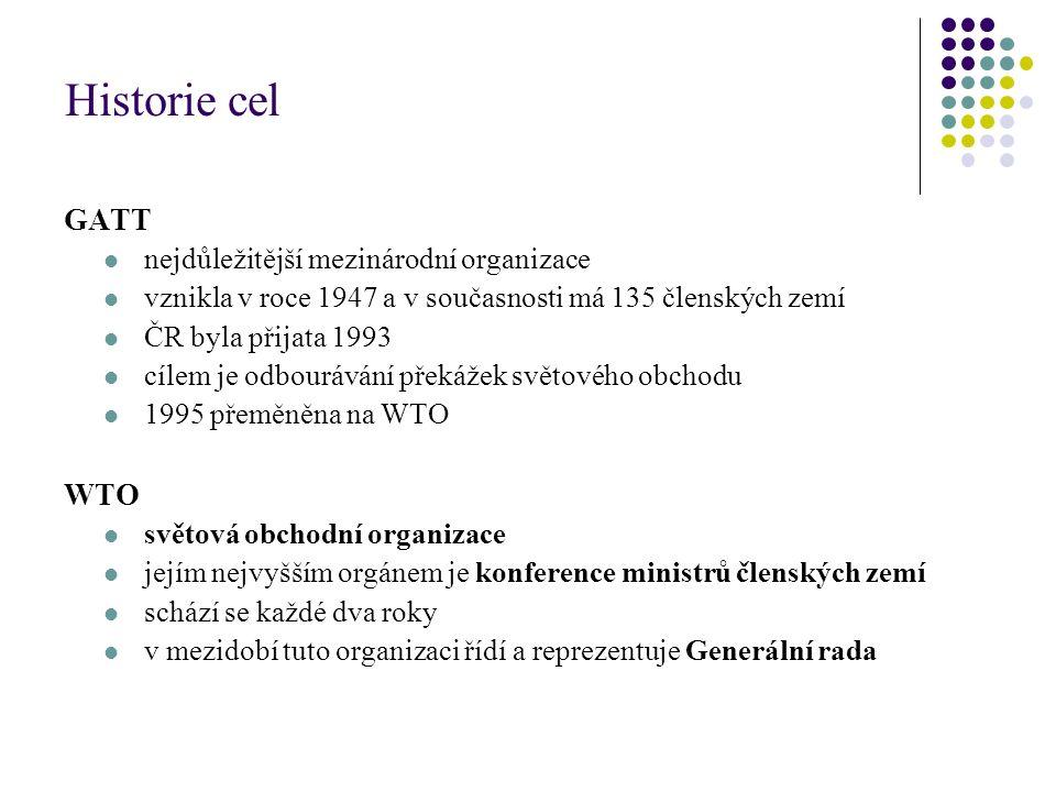 Historie cel GATT nejdůležitější mezinárodní organizace vznikla v roce 1947 a v současnosti má 135 členských zemí ČR byla přijata 1993 cílem je odbour