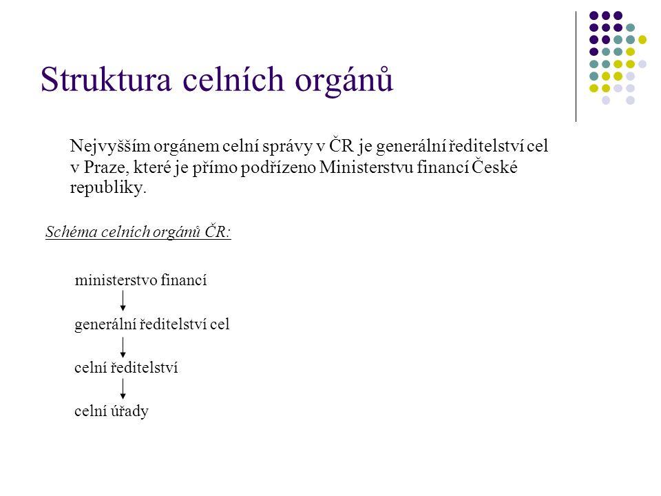 Struktura celních orgánů Nejvyšším orgánem celní správy v ČR je generální ředitelství cel v Praze, které je přímo podřízeno Ministerstvu financí České