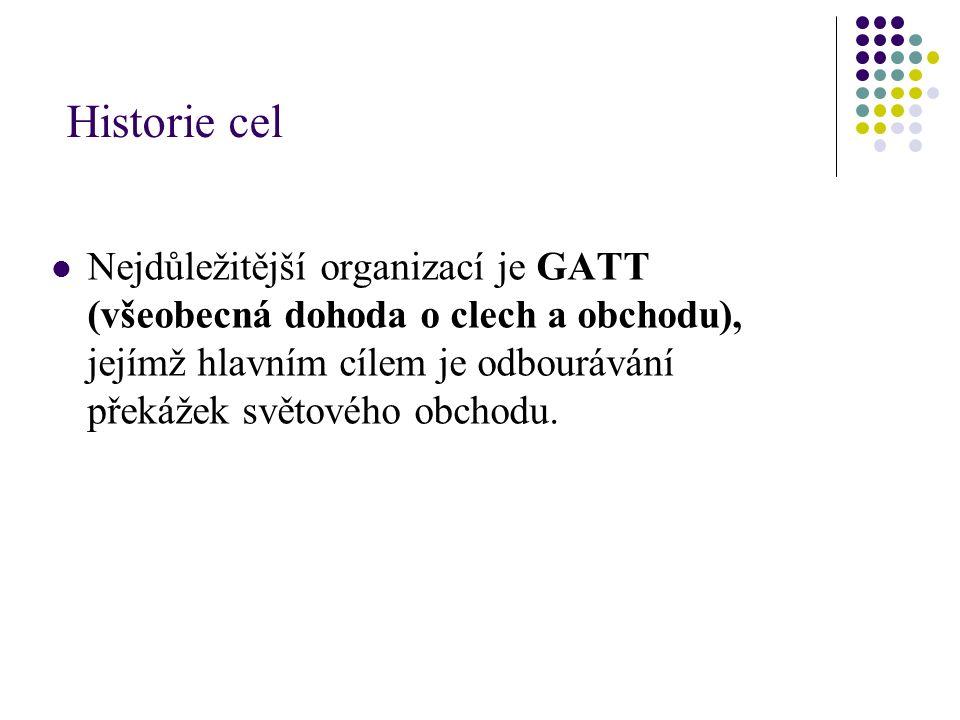 Historie cel Nejdůležitější organizací je GATT (všeobecná dohoda o clech a obchodu), jejímž hlavním cílem je odbourávání překážek světového obchodu.
