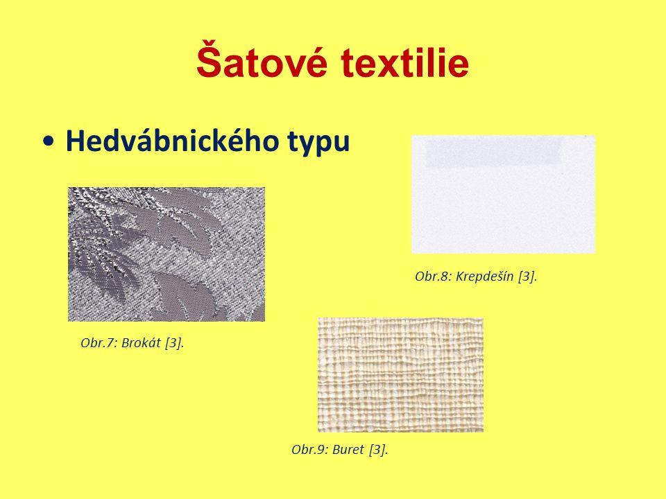 Šatové textilie Hedvábnického typu Obr.8: Krepdešín [3]. Obr.7: Brokát [3]. Obr.9: Buret [3].