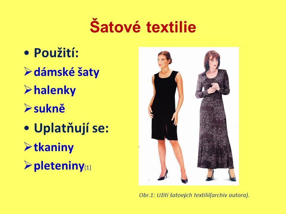 Šatové textilie  Tkaniny podle použitého vlákna bavlnářské lnářské (mají malé využití pro svoji velkou mačkavost a náročnou údržbu, proto nebudou prezentovány) vlnařské hedvábnické [1] Vlastnosti tkanin  trvanlivost, pevnost  hladkost, vyšší hustota dostavy, tuhost Pojmy  hedvábí (vlákna mají nekonečnou délku)  stříž (vlákna mají kratší délku vlivem řezání, použití pro směs s přírodními vlákny) [1]