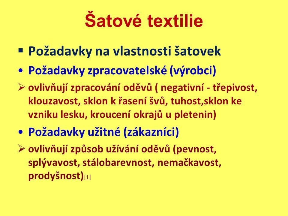 Šatové textilie Bavlnářského typu  materiál: 100% bavlna, bavlna/viskózová stříž, bavlna/mikrovlákno, bavlna/ polyesterová stříž, bavlna/polyesterové hedvábí  úprava: nemačkavá, nesráživá  vlastnosti: příjemný omak, mačkavost, savost  použití: halenky, šaty, sukně sportovního typu  obchodní názvy: popelín, batist, krep [1]