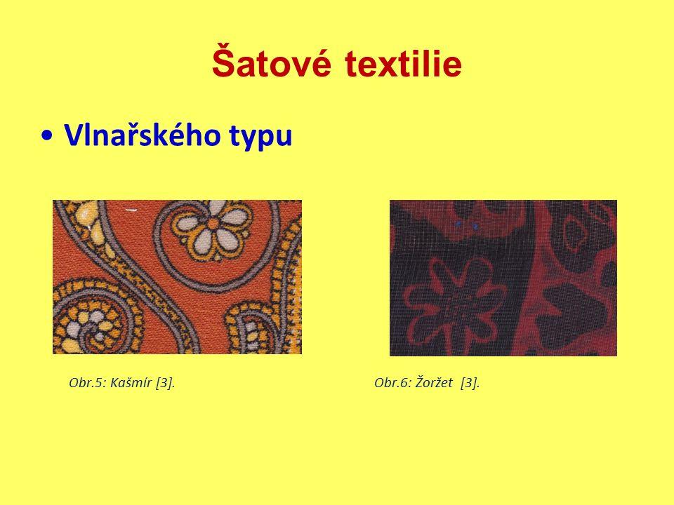 Šatové textilie Hedvábnického typu  materiál: polyesterové hedvábí (elektrostatický náboj, méně příznivé fyziologické vlastnosti, snadná údržba), viskózové hedvábí ( mačkavost), acetátové hedvábí(mačkavost), přírodní hedvábí(finančně náročné) a polyamidové hedvábí  úprava: nemačkavá, antistatická  vlastnosti: malá hmotnost, splývavost, jemnost, vysoký lesk, elektrostatický náboj  použití: společenské šaty, halenky, sukně  obchodní názvy: brokát, krepdešín, buret [1]