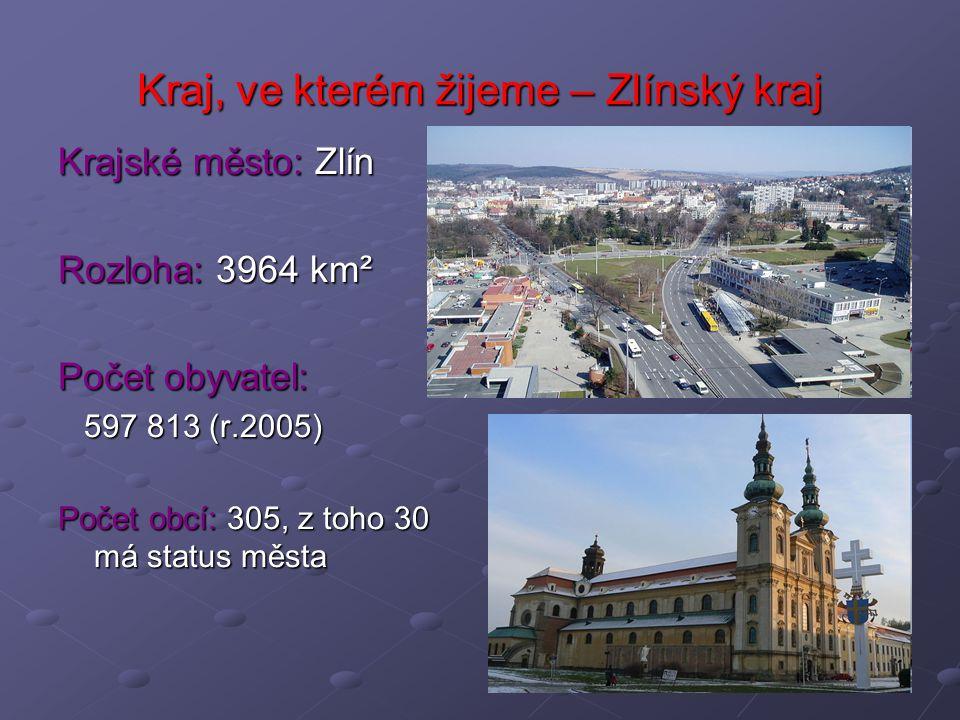Kraj, ve kterém žijeme – Zlínský kraj Krajské město: Zlín Rozloha: 3964 km² Počet obyvatel: 597 813 (r.2005) 597 813 (r.2005) Počet obcí: 305, z toho