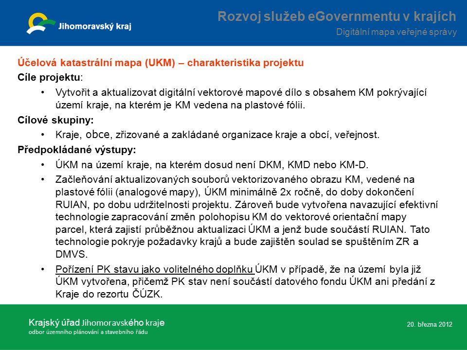 Účelová katastrální mapa (UKM) – charakteristika projektu Cíle projektu: Vytvořit a aktualizovat digitální vektorové mapové dílo s obsahem KM pokrývající území kraje, na kterém je KM vedena na plastové fólii.