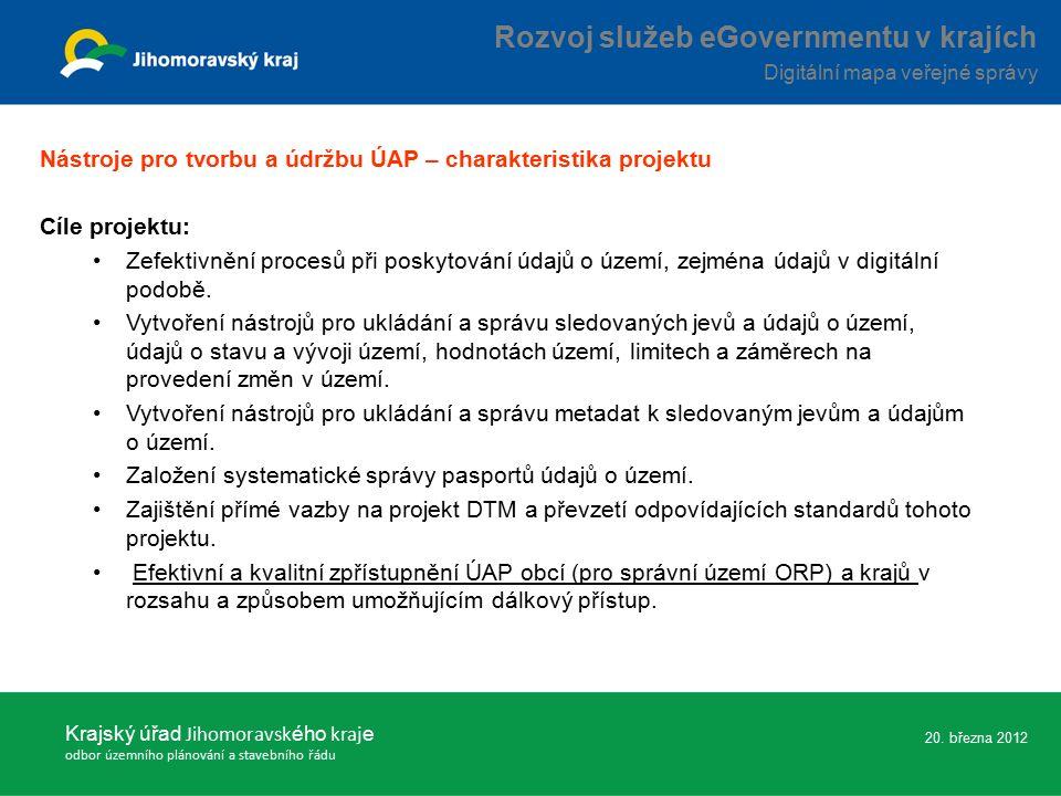Nástroje pro tvorbu a údržbu ÚAP – charakteristika projektu Cíle projektu: Zefektivnění procesů při poskytování údajů o území, zejména údajů v digitální podobě.