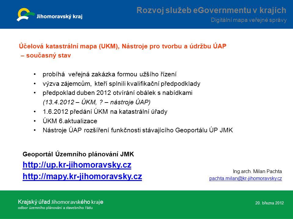 Účelová katastrální mapa (UKM), Nástroje pro tvorbu a údržbu ÚAP – současný stav probíhá veřejná zakázka formou užšího řízení výzva zájemcům, kteří splnili kvalifikační předpodklady předpoklad duben 2012 otvírání obálek s nabídkami (13.4.2012 – ÚKM, .