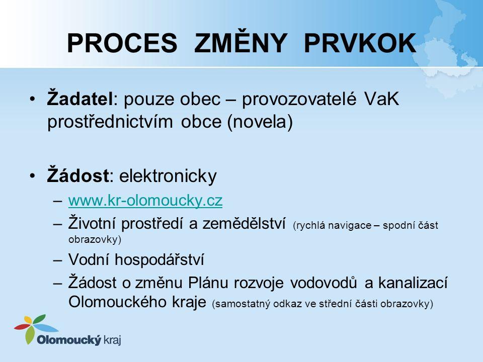 PROCES ZMĚNY PRVKOK Žadatel: pouze obec – provozovatelé VaK prostřednictvím obce (novela) Žádost: elektronicky –www.kr-olomoucky.czwww.kr-olomoucky.cz