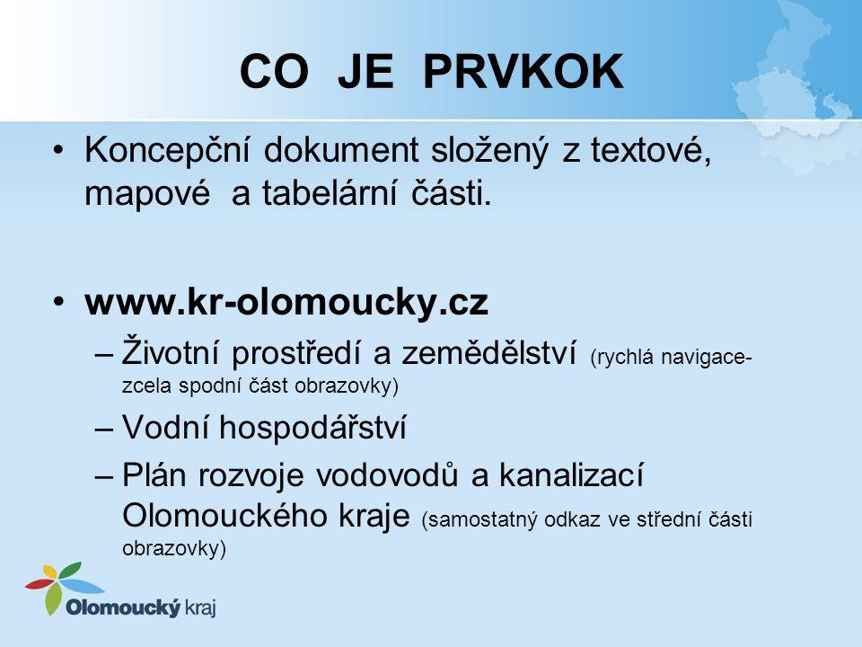 CO JE PRVKOK Koncepční dokument složený z textové, mapové a tabelární části. www.kr-olomoucky.cz –Životní prostředí a zemědělství (rychlá navigace- zc