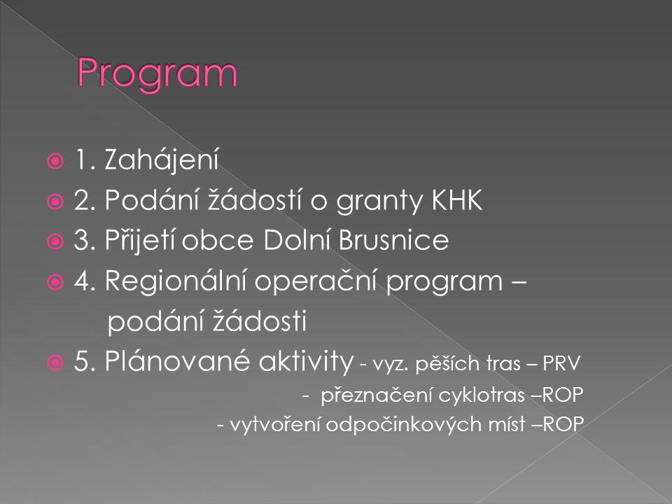  1.Zahájení  2. Podání žádostí o granty KHK  3.