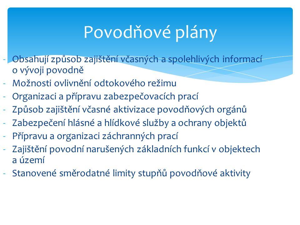 Povodňové plány -Obsahují způsob zajištění včasných a spolehlivých informací o vývoji povodně -Možnosti ovlivnění odtokového režimu -Organizaci a přípravu zabezpečovacích prací -Způsob zajištění včasné aktivizace povodňových orgánů -Zabezpečení hlásné a hlídkové služby a ochrany objektů -Přípravu a organizaci záchranných prací -Zajištění povodní narušených základních funkcí v objektech a území -Stanovené směrodatné limity stupňů povodňové aktivity