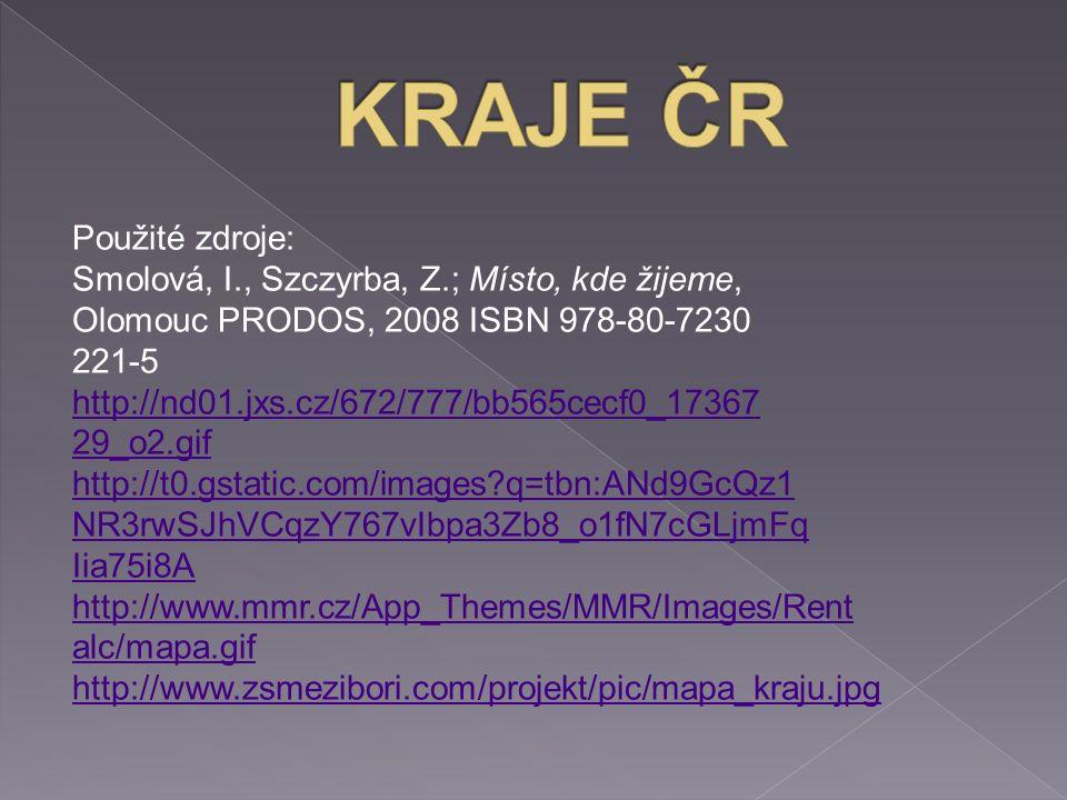 Použité zdroje: Smolová, I., Szczyrba, Z.; Místo, kde žijeme, Olomouc PRODOS, 2008 ISBN 978-80-7230 221-5 http://nd01.jxs.cz/672/777/bb565cecf0_17367 29_o2.gif http://t0.gstatic.com/images?q=tbn:ANd9GcQz1 NR3rwSJhVCqzY767vIbpa3Zb8_o1fN7cGLjmFq Iia75i8A http://www.mmr.cz/App_Themes/MMR/Images/Rent alc/mapa.gif http://www.zsmezibori.com/projekt/pic/mapa_kraju.jpg