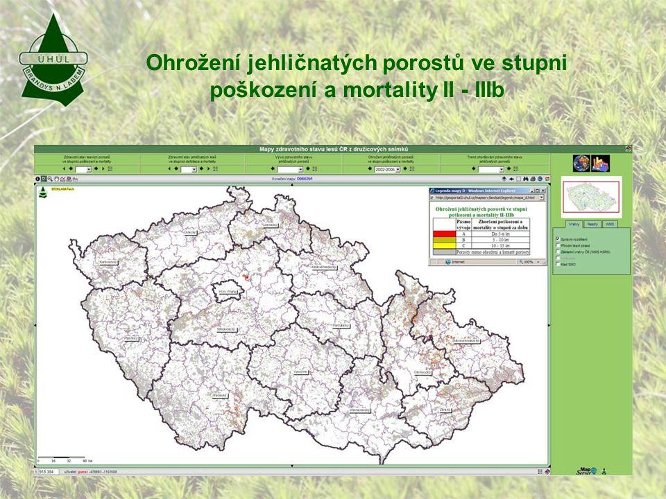 Ohrožení jehličnatých porostů ve stupni poškození a mortality II - IIIb