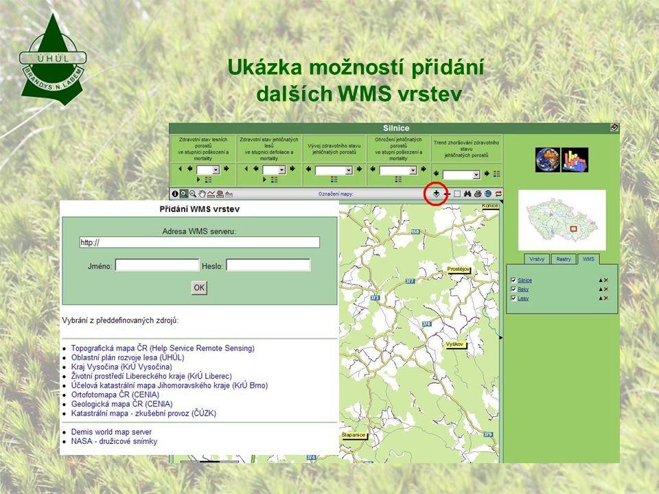 Ukázka možností přidání dalších WMS vrstev