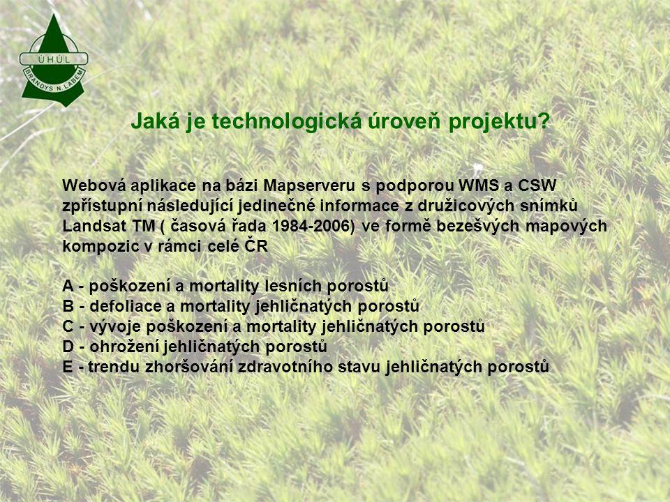 Kde jsou prezentovaná data umístěna: -Webové stránky firmy: http://www.uhul.cz – v záložce mapy, pod- složce Mapy zdravotního stavu lesů ČR z družicových snímků -Webové stránky aplikace: http://geoportal2.uhul.cz/mapserv/php/mapserv3.php?project=landsat&