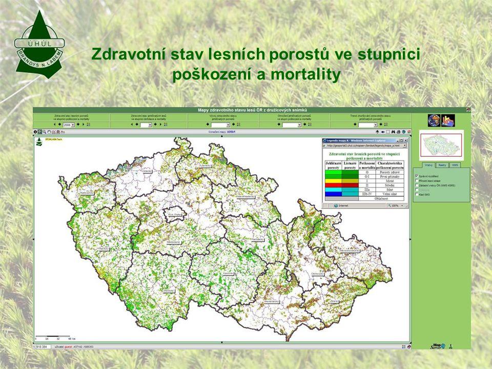 Zdravotní stav lesních porostů ve stupnici poškození a mortality