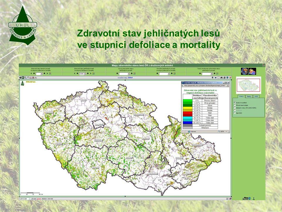 Zdravotní stav jehličnatých lesů ve stupnici defoliace a mortality