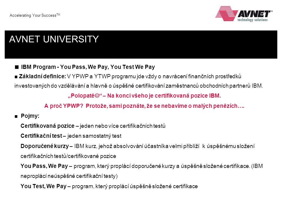 Accelerating Your Success TM AVNET UNIVERSITY ■ IBM Program - You Pass, We Pay, You Test We Pay ■ Pojmy - pokračování: Úroveň partnerství Member –je obchodní partner IBM registrovaný v portálu Partner World Advanced – je partner, který dosáhl 7 bodů (min 3 IBM Skills = 3 body) Premier – je partner, který dosáhl 25 bodů (min 6 IBM Skills = 6 bodů) ValeuPack – virtuální souhrn výhod, který např.