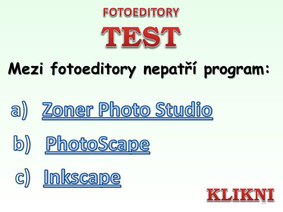 Nejpoužívanějším fotoeditorem je freewarový program: 10