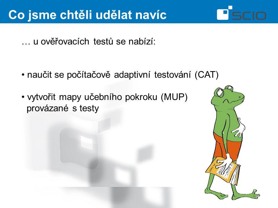 Co jsme chtěli udělat navíc … u ověřovacích testů se nabízí: naučit se počítačově adaptivní testování (CAT) vytvořit mapy učebního pokroku (MUP) provázané s testy