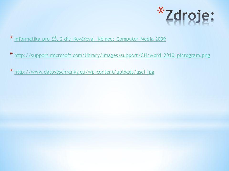 * Informatika pro ZŠ, 2 díl; Kovářová, Němec; Computer Media 2009 Informatika pro ZŠ, 2 díl; Kovářová, Němec; Computer Media 2009 * http://support.microsoft.com/library/images/support/CN/word_2010_pictogram.png http://support.microsoft.com/library/images/support/CN/word_2010_pictogram.png * http://www.datoveschranky.eu/wp-content/uploads/asci.jpg http://www.datoveschranky.eu/wp-content/uploads/asci.jpg
