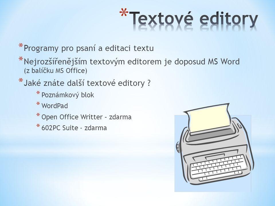* Programy pro psaní a editaci textu * Nejrozšířenějším textovým editorem je doposud MS Word (z balíčku MS Office) * Jaké znáte další textové editory .