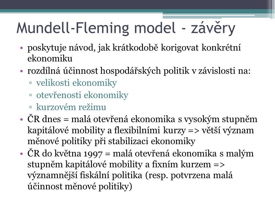 Mundell-Fleming model - závěry poskytuje návod, jak krátkodobě korigovat konkrétní ekonomiku rozdílná účinnost hospodářských politik v závislosti na: ▫velikosti ekonomiky ▫otevřenosti ekonomiky ▫kurzovém režimu ČR dnes = malá otevřená ekonomika s vysokým stupněm kapitálové mobility a flexibilními kurzy => větší význam měnové politiky při stabilizaci ekonomiky ČR do května 1997 = malá otevřená ekonomika s malým stupněm kapitálové mobility a fixním kurzem => významnější fiskální politika (resp.
