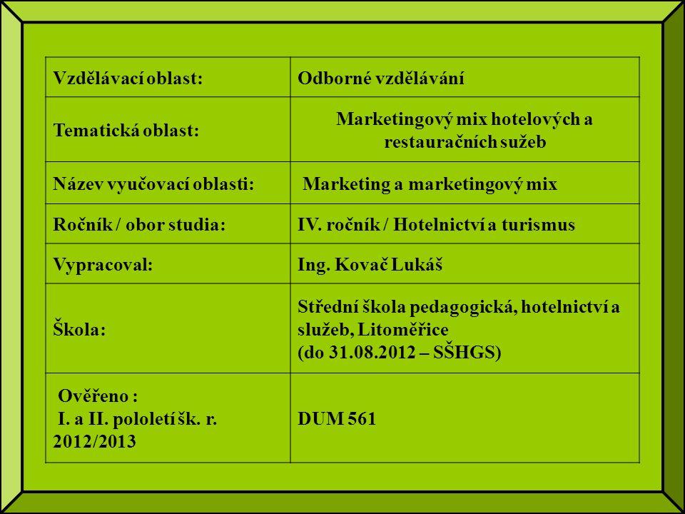 Vzdělávací oblast:Odborné vzdělávání Tematická oblast: Marketingový mix hotelových a restauračních sužeb Název vyučovací oblasti: Marketing a marketingový mix Ročník / obor studia:IV.