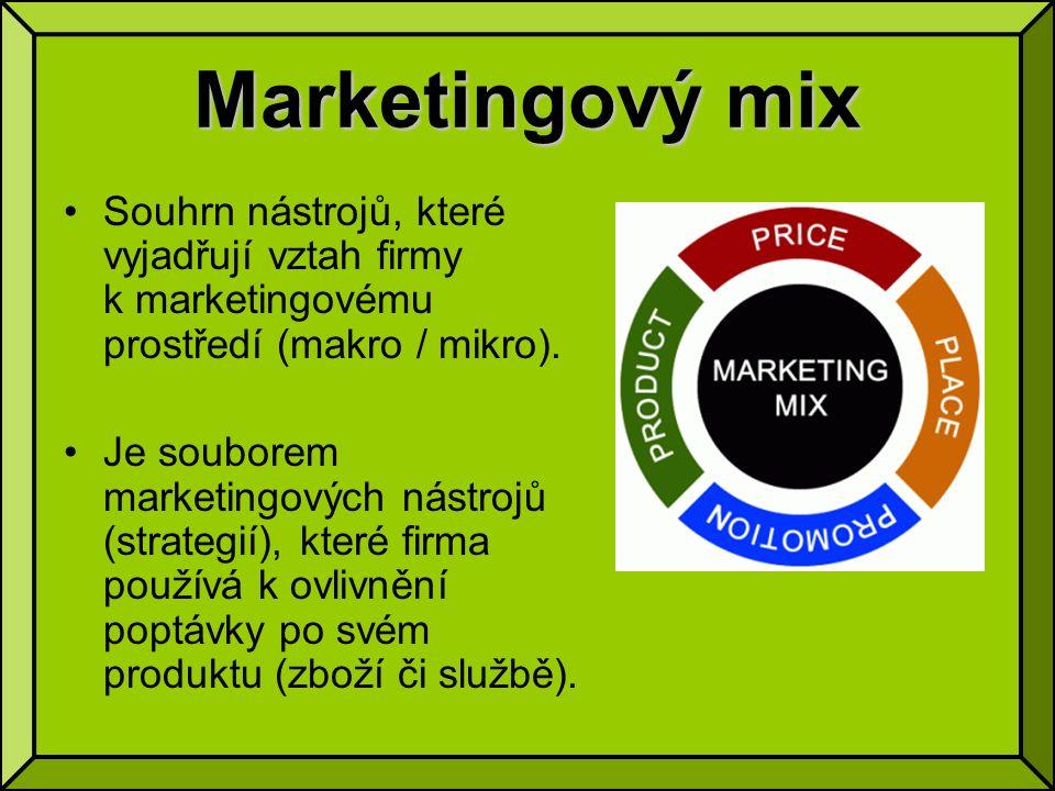 Marketingový mix Souhrn nástrojů, které vyjadřují vztah firmy k marketingovému prostředí (makro / mikro).