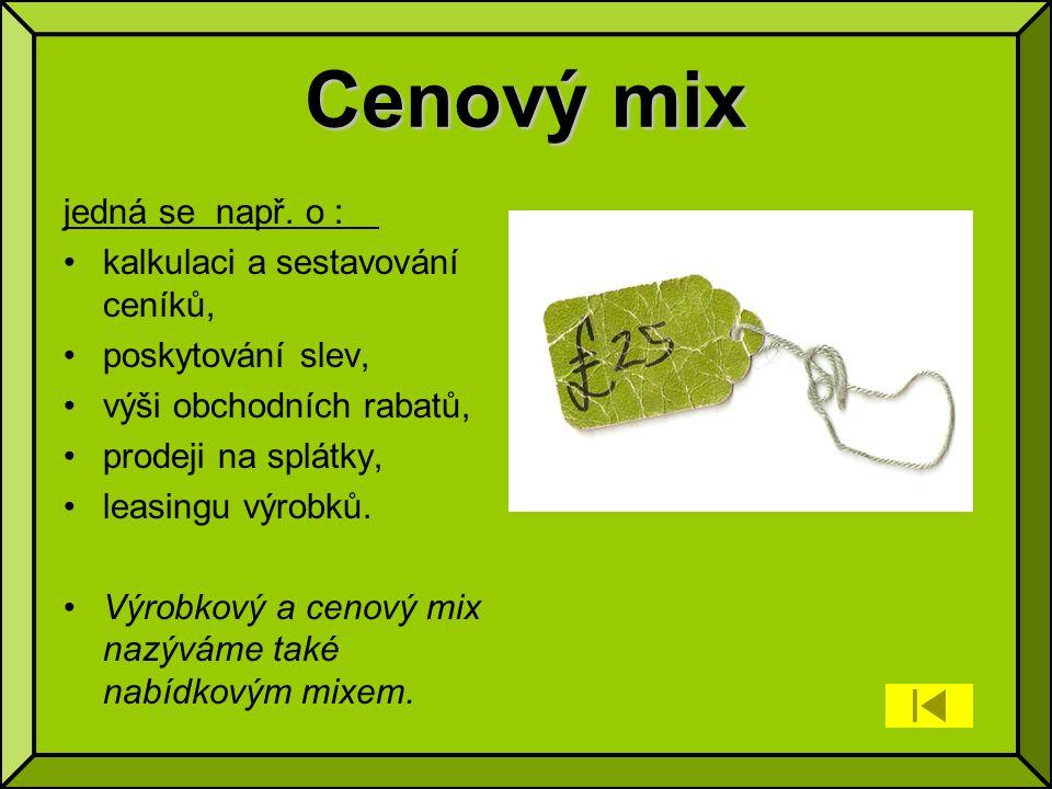 Cenový mix jedná se např.