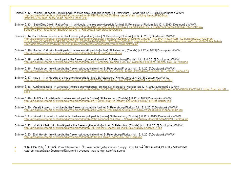 Snímek č. 12 - zámek Ratibořice - In wikipedia: the free encyklopeddia [online].