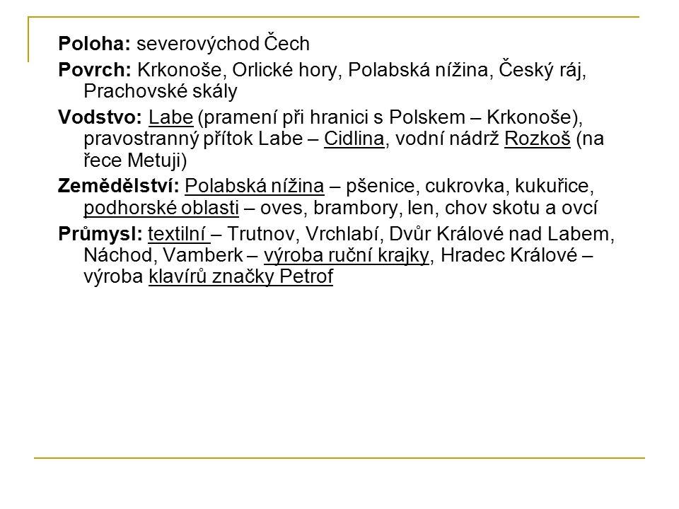 Poloha: severovýchod Čech Povrch: Krkonoše, Orlické hory, Polabská nížina, Český ráj, Prachovské skály Vodstvo: Labe (pramení při hranici s Polskem –
