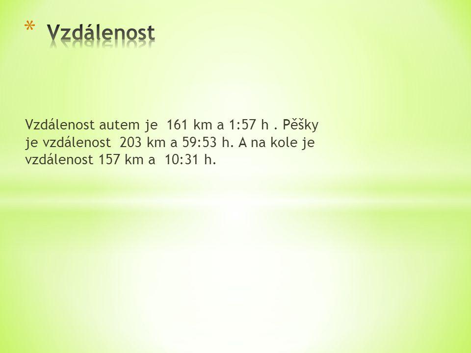 Vzdálenost autem je 161 km a 1:57 h.Pěšky je vzdálenost 203 km a 59:53 h.