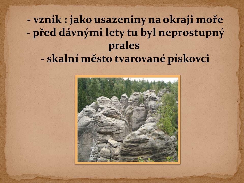 - vznik : jako usazeniny na okraji moře - před dávnými lety tu byl neprostupný prales - skalní město tvarované pískovci