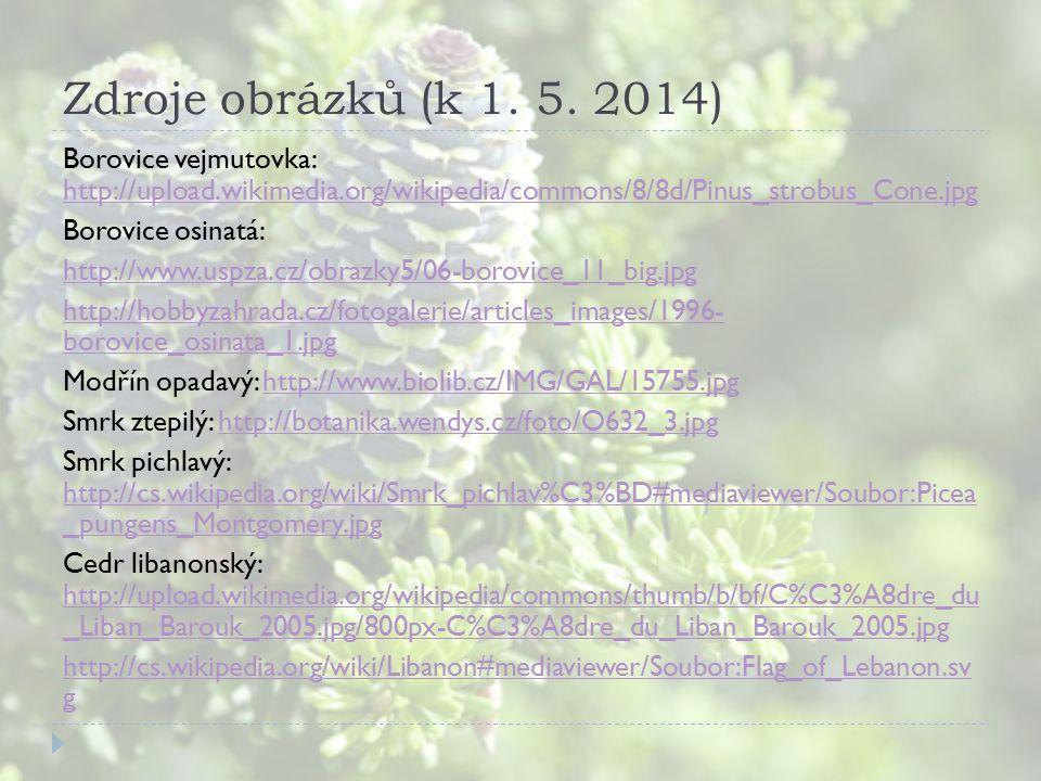 Zdroje obrázků (k 1. 5. 2014) Borovice vejmutovka: http://upload.wikimedia.org/wikipedia/commons/8/8d/Pinus_strobus_Cone.jpg http://upload.wikimedia.o
